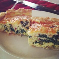 Spinach and Bacon Quiche with a homemade crust