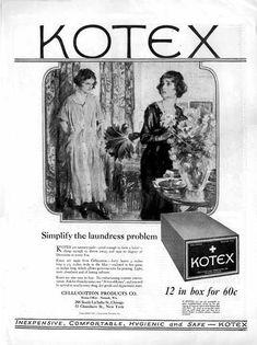 Kotex sanitary napkin ad, November 1921, and the First Kotex Ad Campaign