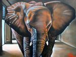 Charles Sabourin artwork The elephant in the room for sale and offering more original artworks in Painting Oil medium and Surrealism theme. Contemporary artist website Contemporary Painter, Artist from Athelstan Canada. Contemporary Artists, Original Artwork, Elephant, Room, Painting, Painting Art, Paintings, Elephants, Drawings