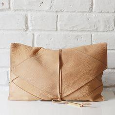 Cream Leather Clutch