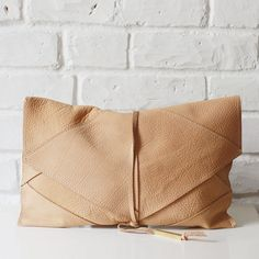 Tala camel beige nubuck leather clutch with brass detail // Shannon South // made in USA