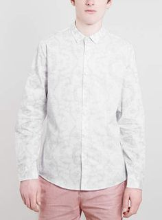 White Baroque Print Long Sleeve shirt