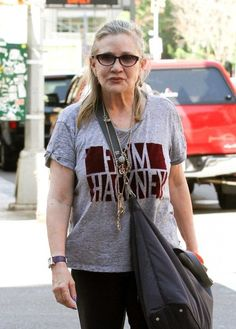 Carrie Fisher Photos Photos - Carrie Fisher is spotted out and about in New York City, New York with a friend on August 3, 2016. - Carrie Fisher and a Friend Walk Around NYC