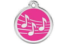 Small Hot Pink Music Musical Notes Pet Name Tag ID Premium Quality Best Friend Identification Pendant Stainless Steel and Enamel Animal Charm For Dogs, Cats and other Pets