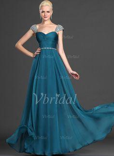 Abendkleider - $135.00 - A-Linie/Princess-Linie Herzausschnitt Bodenlang Chiffon Abendkleid mit Rüschen Perlenstickerei (0175055869)