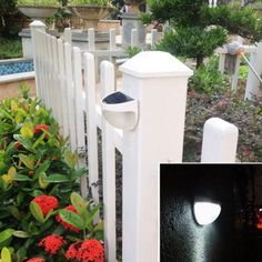 Led Solar Light Outdoor Waterproof Garden Decoration Landscape Lawn Solar Power Panel 6 LED Fence Gutter Wall Solar Power Lamps - All About Fence Lighting, Backyard Lighting, Outdoor Lighting, Lighting Ideas, Garage Lighting, Solar Licht, Landscape Lighting Design, Solar Power Panels, Outdoor Projects