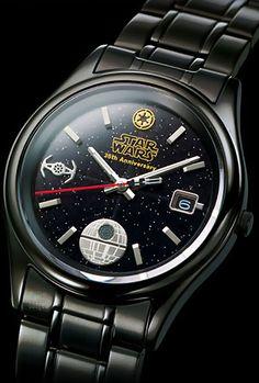 Darth Vader Watch - Anniversary of Star Wars. Need it for my star wars crazy husband ; Star Wars Love, Starwars, Darth Vader Watch, Amour Star Wars, Anniversaire Star Wars, Best Avenger, Star Wars Watch, Star Watch, Star Wars Merchandise