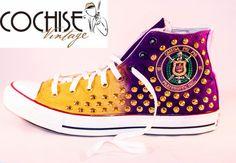 Custom Converse Omega Psi Phi Fraternity Chuck Taylors All Stars, Greek Chuck Taylors, 1911, HBCU Chuck Taylors, Atomic Dog Chuck Taylors