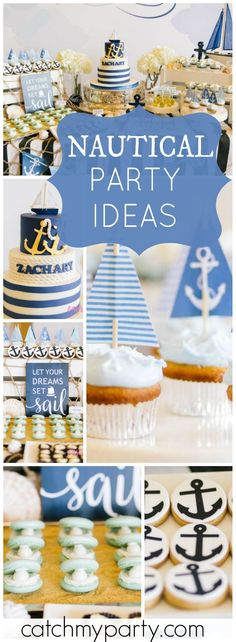 What an incredible party with a nautical sailboat theme! See more party ideas at… – Baby Shower İdeas 2020 Baptism Themes, Baptism Party, Baby Party, Boy Baptism, Christening, Boy Birthday Parties, Baby Birthday, Birthday Celebration, Theme Parties