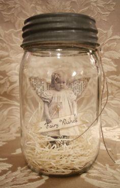 baby fairy in mason jar.
