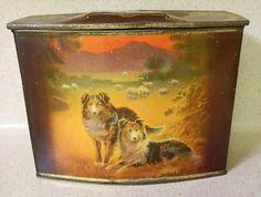 Antique British biscuit tin, Collie dogs and children, dated 1912 Vintage Dog, Vintage Tins, Vintage Enamelware, Collie Dog, Rough Collie, Vintage Cookies, Tin Boxes, Vintage Advertisements, Retro