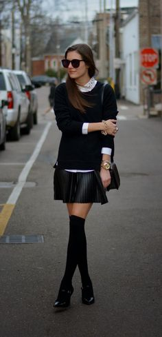 Black sweater and Skirt with long socks