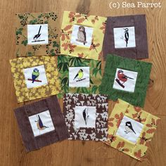 Woodland birds and Autumn woodland quilt blocks made using fabrics from Sea Parrot. Patchwork Fabric, Plant Art, Quilt Making, Quilt Blocks, Parrot, Fabric Design, Woodland, Arts And Crafts, Fabrics