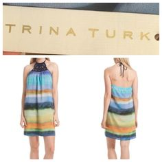 "Trina Turk silk dress Trina Turk Amaia ombré habotai dress with crochet detail at neckline and braided ties.  100% silk crepe de chine with polyester liner.  Hits right above the knees, length is 26"" from low halter back to hem. Off the runway, beautiful flowy dress!  NWT Trina Turk Dresses"