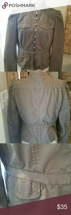 "LOFT 423 Military-style Jacket Quality and Style make this jacket a timeless addition to your closet. Fitted design with military detailing; Button-Loop front closure. Lightweight; unlined. Sized a 10 bust measures 42; length: 22""; Sleeve 18"". Neutral Tan-Khaki goes with jeans! EUC LOFT Jackets & Coats"