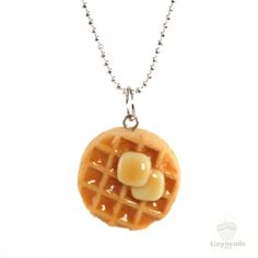 Scented Maple Syrup Waffle Necklace