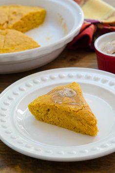 Pumpkin Cornbread with Cinnamon Honey Butter #pumpkin #fallrecipe #thanksgiving