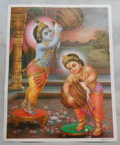 India Hindu Religious God child Krishna With Butter Print (r278)
