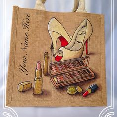 Emily-em Original Bag Designs.... BBlogger Cosmetic junkie Personalised jute bag by Emily-em Original Bag Designs!