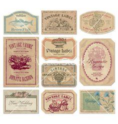 Vintage labels set vector on VectorStock®