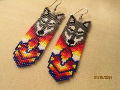 Items similar to Handmade beaded Grey wolf earrings 2 on Etsy Native Beading Patterns, Beaded Earrings Patterns, Native Beadwork, Native American Beadwork, Seed Bead Earrings, Beaded Jewelry, Beaded Bracelets, Necklaces, Diy Jewelry Projects