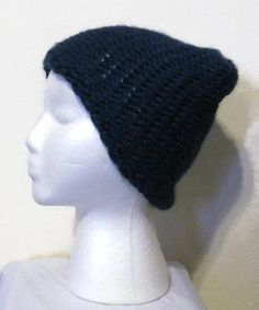 Dark Navy Blue Sapphire Knitted Loops and Threads Cozy Wool Beanie Hat by ArtTx, $12.00