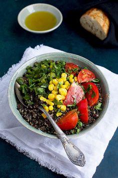 Roasted Poblano Quinoa with tomato, corn and cilantro. - CaliZona