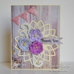 Mother's Day Thank You Card & tutorial by Margie Higuchi for Scrapbook Adhesives by 3L Blog. Technique Tip using @spellbinders embossing folder with 3D Foam Pennants. Also uses @justritestamper