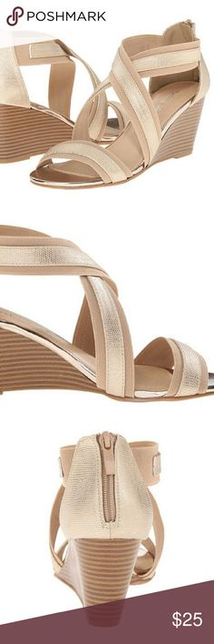 Brand new Chinese Laundry 8.5 wedge sandals Gorgeous gold/nude wedge sandals- brand new with box! Size 8.5, Chinese Laundry brand. Chinese Laundry Shoes Wedges