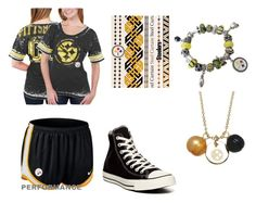 """Lets Go steelers!"" by nyjabear ❤ liked on Polyvore featuring Pandora, 5th & Ocean, Honora, Lulu DK, NIKE and Converse"