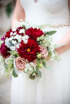 Burgundy and Green Bouquet with Blush Roses   You Me Photography & Video   Bouquet: Anthony Gowder Designs