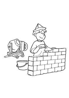 Dessin illustrant un maçon entrain de bâtir un mur de briques, à colorer