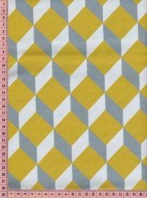 Tissu motif cubes moutarde, gris bleu, ciel