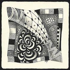 Tangles: Bunzo, Florz, Knase, Knightsbridge Aura, Printemps, Seljuk, Tipple ~ Zentangle tile by Certified Zentangle Teacher Margaret Bremner