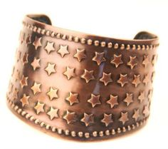 Copper Cowgirl Star Cuff Bracelet Western Jewelry  This bracelet is beautiful and chic!  It's easy to wear with a classic western design. Dress this piece up or wear i everyday.  Western Bracelet  - Bangle - Easy to Wear - Beautiful Design - Slip-on, one size fits most - Lead Compliant