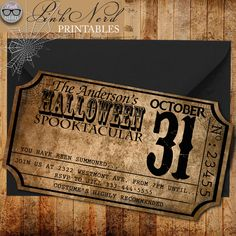 Vintage Halloween invitation ticket Old Halloween party invitation ticket