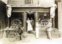 Tsapanou and Peter store, 1912 (Vasil Peter in cap, facing right), Battle Creek, MI