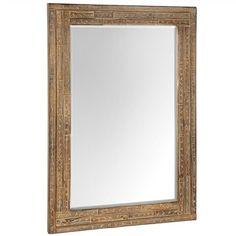 Parquetry Rectangular Timber Mirror