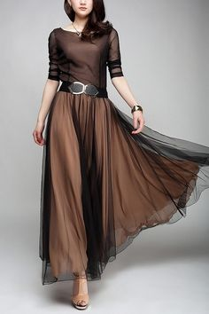 For Amanda Liles - Elegant, Vintage Chiffon Dress. Wish I knew more about the history of this vintage dress. But think it's styling attractive for 2013 too! Like the black chiffon over the brown. Chiffon Dress Long, Business Outfit, Mode Style, Dress Me Up, Pretty Dresses, Lulu's Dresses, Elegant Dresses, Evening Dresses, Beautiful Outfits