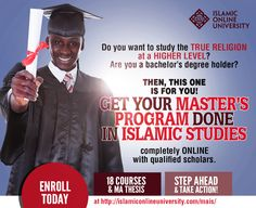 IOU offers the world's first tuition-free Master's program in Islamic Studies. Islamic Online University, Degree Holder, Islamic Studies, Masters Programs, Take Action, True Religion, Study, Ads, Free
