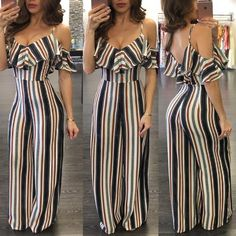 Leaf Shape Off Shoulder Backless Brocade Women Jumpsuits - Buy Online Dress Fashion Nova Jumpsuit, Jumpsuit Outfit, Trendy Outfits, Trendy Fashion, Cool Outfits, Summer Office Outfits, Pinterest Fashion, Classy Casual, Outfit Goals