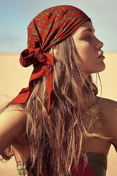 Feb 2020 - Voyager Block Print Bandana by Free People, Red, One Size New Hair, Your Hair, Hair Scarf Styles, Bandana Styles, Hair Scarf Wraps, Estilo Hippy, Natural Hair Styles, Long Hair Styles, Hair Loss Remedies
