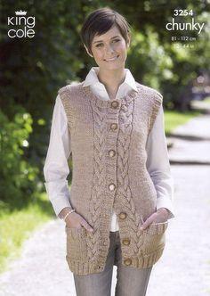 Waistcoat and Slipover in King Cole Big Value Chunky - Discover more Patterns by King Cole at LoveKnitting. The world& largest range of knitting supplies - we stock patterns, yarn, needles and books from all of your favourite brands. Knit Cardigan Pattern, Knitted Poncho, King Cole, Knitting Designs, Knitting Patterns, Knit Crochet, Creations, Couture, Clothes