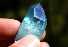 Aqua Aura Blue Quartz Crystal Point