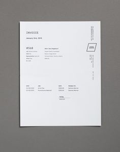 Although its an Invoice, I like the minimal and understated design this has. Also the different direction of texts.