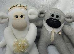 bride and groom sock monkey