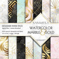 Watercolor Marble & Gold Patterns by Karamfila on @creativemarket