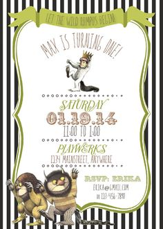 Where The Wild Things Are Invitation By Rawkonversations On Etsy