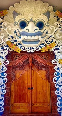 Colorful Temple door in Bali, Indonesia.