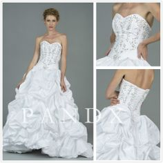 Ball Gown Sweetheart Strapless Floor-length Taffeta And Organza Wedding Dresses Brides $289.50
